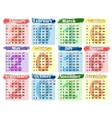 Calendar 2016 on a colored background vector image