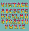 hand drawn vintage alphabet set vector image
