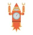 robot clock laungh rocket smile vector image