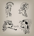 set of patterns of wild animals vector image