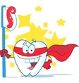 Smiling Superhero Tooth With Toothbrush vector image