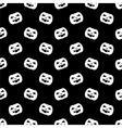 Halloween tile pattern with white pumpkin on black vector image