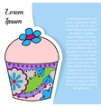 Background with cupcake on paper and place for vector image