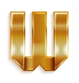 Letter metal gold ribbon - W vector image vector image
