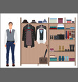 Stylish man and man s wardrobe Men vector image