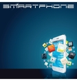 White Smartphone with App Icons Background vector image