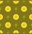 yellow lemon fruits seamless pattern vector image