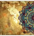 flower circle design on gold grunge background vector image vector image