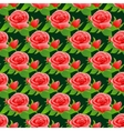 Seamless pattern with roses and leaves vector image