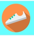 White sneaker sport shoe icon in flat style with vector image