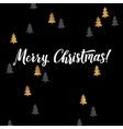 Merry Christmas hand lettering and Golden Tree vector image