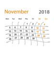 2018 funny original november creative calendar vector image