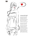 beautiful young woman hand drawn vector image