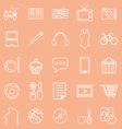 Hobby line icons on orange background vector image