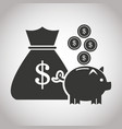 bag money piggy coins currency banking pictogram vector image