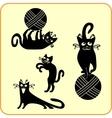 Black cats - set Vinyl-ready EPS vector image