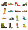 icons footwear men and women shoes in flat style vector image