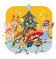 kids christmas carnival party vector image