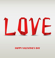 Valentine card with folded red paper love vector image