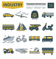 Transportation icon set Thin line design vector image