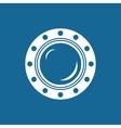 Round Ship Porthole Isolated on Blue vector image