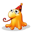 A monster wearing a party hat vector image vector image