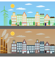View of green city and pollution vector image vector image