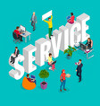 isometric customer service department concept vector image
