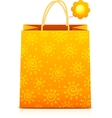 Orange paper shopping bag with sunny pattern vector image