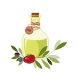 Olive Oil In Glass Bottle With Olives And Tomato vector image
