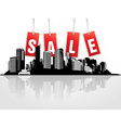 City with red tags vector image vector image
