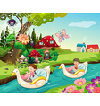 Children riding boats on the river vector image