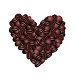 Coffee beans heart over a white background vector image