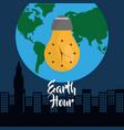 earth hour bulb clock city globe world vector image