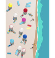 People on the beach aerial view vector image