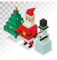 Santa Claus snowman icons isometric 3d vector image