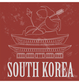South Korea landmarks Retro styled image vector image
