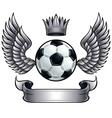 winged soccer ball emblem vector image