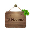 Wooden Background With Welcome Text vector image vector image