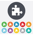 Puzzle piece sign icon Strategy symbol vector image