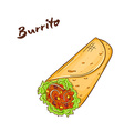 Isolated cartoon hand drawn fast food burrito vector image