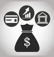 bag with money dollar credit card bank graph vector image