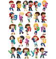 Children holding english alphabets vector image
