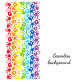 Color hands rainbow seamless border background vector image