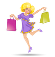 Cute cartoon girl jump with shopping bags vector image