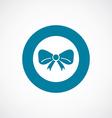 festive bow icon bold blue circle border vector image