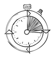 Stopwatch icon hand drawn style vector image