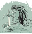 Warrior woman with long hair in tattoos and vector image