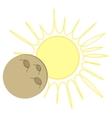 Solar Eclipse flat design - moon over sun vector image