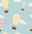 Hot air balloon in the sky seamless background vector image